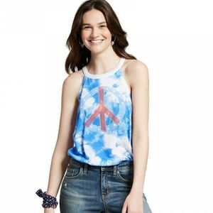 Modern Lux Tie Dye Peace Sign Graphic Tank Size L